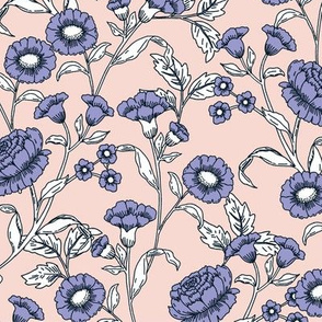 Vintage flowers pink and lilac
