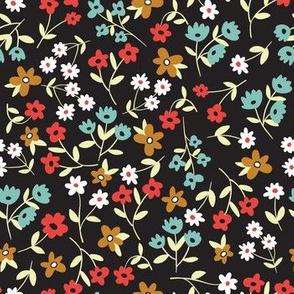 Small flowers on black background vintage