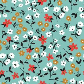 Vintage flowers on mint background