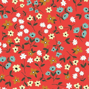 Small vintage flowers on red background