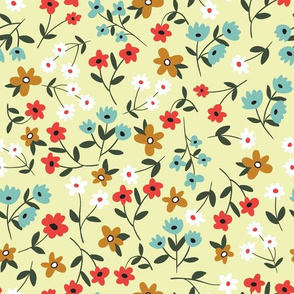Small vintage flowers on yellow background
