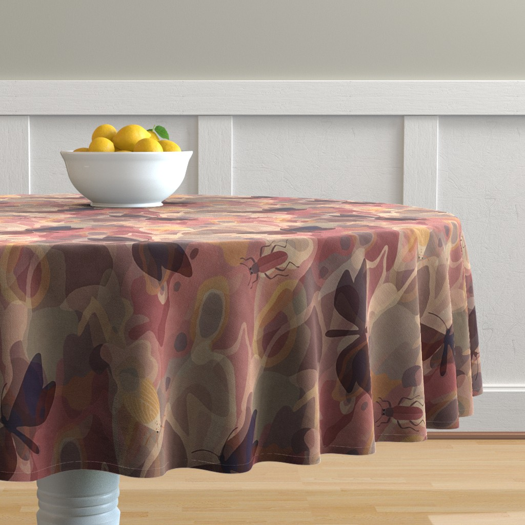 Malay Round Tablecloth featuring lively tree bark by dessineo