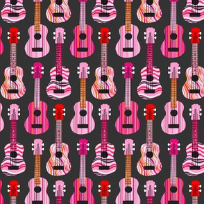 Pink, Red & Orange Ukuleles