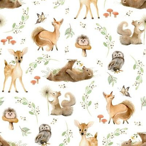 "8"" Forest Friends – Leaves and Branches, unisex 8"" repeat on fabric"