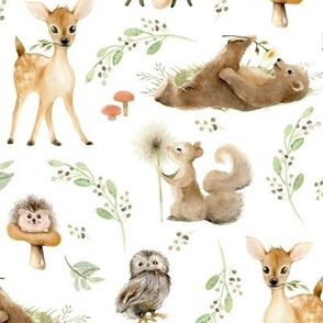"""12"""" Forest Friends – Leaves and Branches, 12"""" repeat on fabric"""
