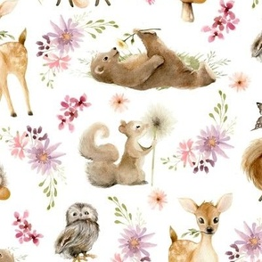 """12"""" Forest Friends – Flowers, 12"""" repeat on fabric"""
