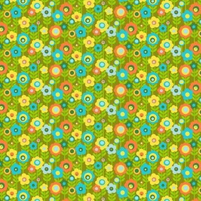 Marguerite* (1:6 Scale for Doll Clothes) (Avocado) || vintage sheet mod 70s 60s flower floral leaves stem garden spring summer clothing living coral mustard gold olive green