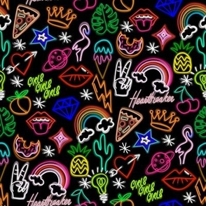 Neon signs fabric - neon, cactus, flamingo, bird, funny, cute, rainbow, happy fabric - black