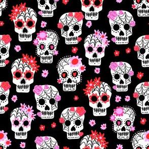 sugar skulls fabric - marigold fabric, day of the dead fabric, mexico folk fabric - black