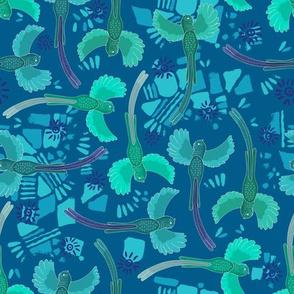 Aztec Quetzal tumble blue green