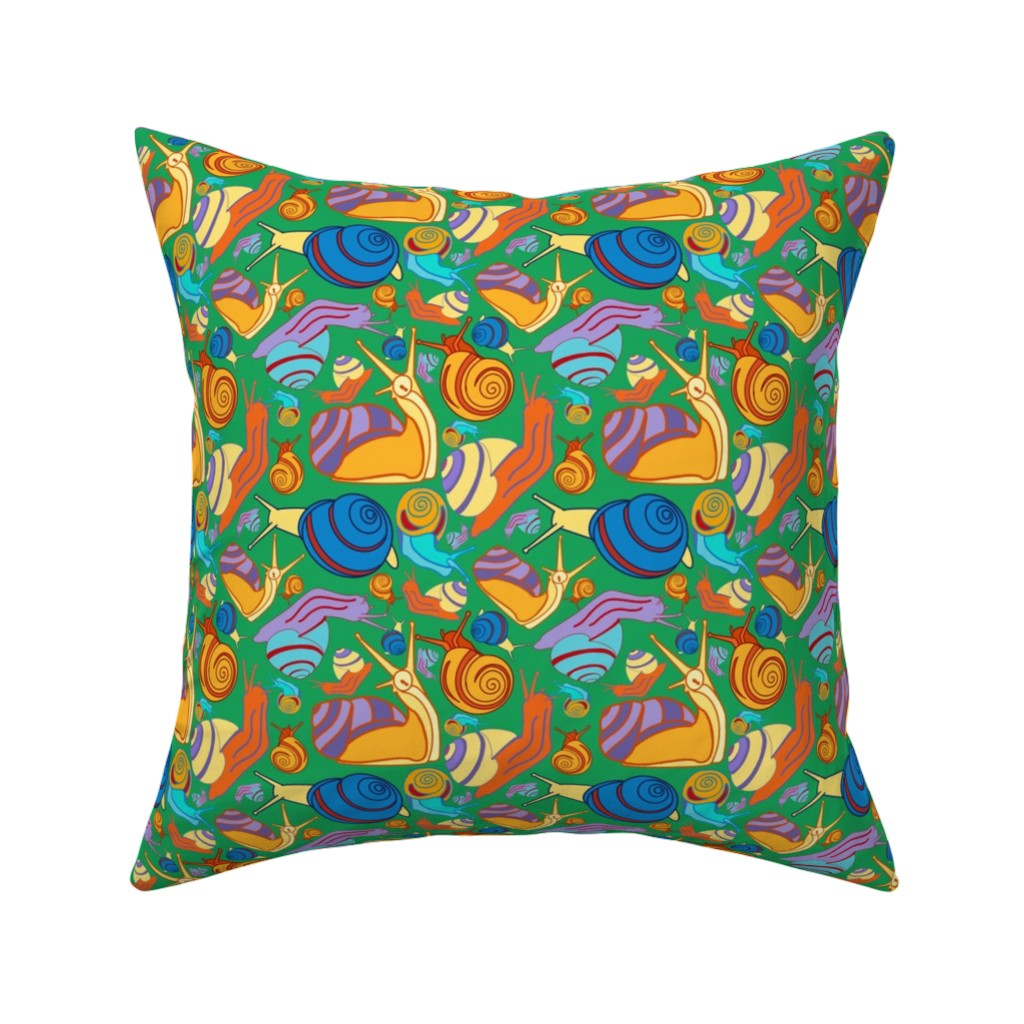 Catalan Throw Pillow featuring Snail Pals-Boy Wonder by kandyceartstudio