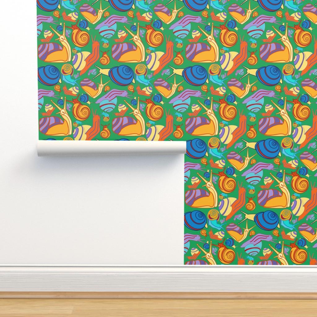 Isobar Durable Wallpaper featuring Snail Pals-Boy Wonder by kandyceartstudio