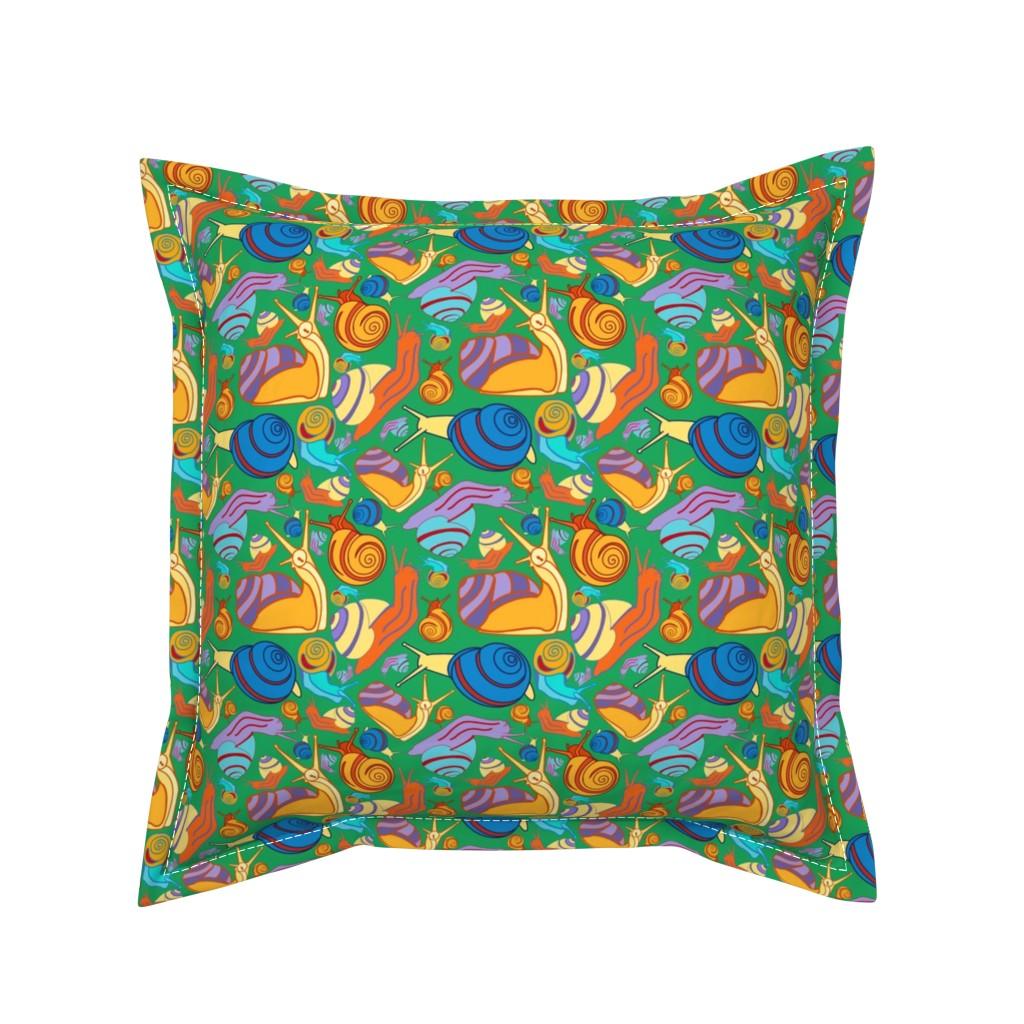 Serama Throw Pillow featuring Snail Pals-Boy Wonder by kandyceartstudio