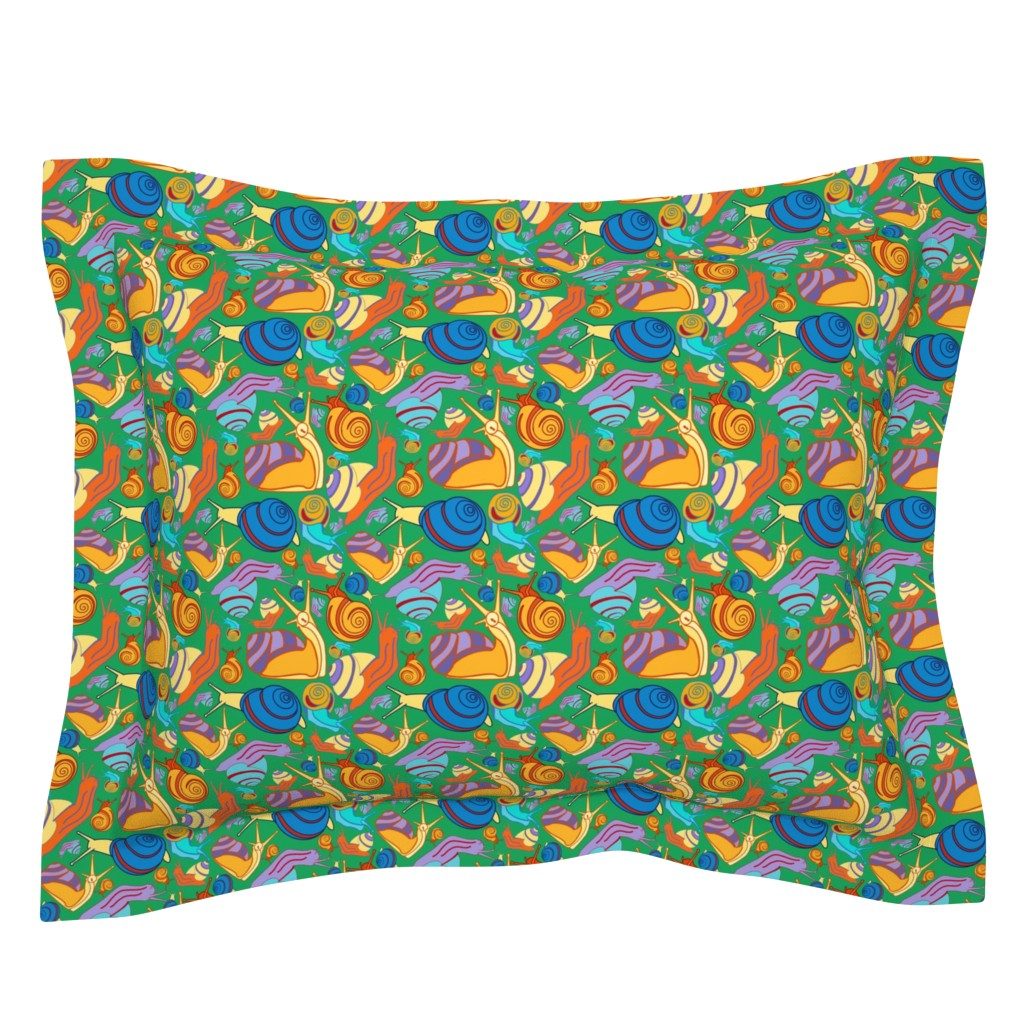 Sebright Pillow Sham featuring Snail Pals-Boy Wonder by kandyceartstudio