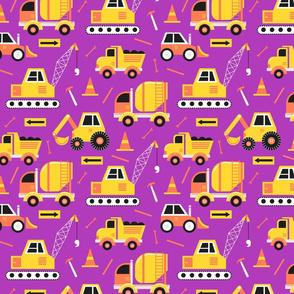 Construction Trucks on Purple