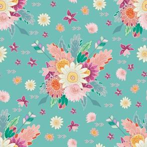 Aztec boho floral bouquet aqua