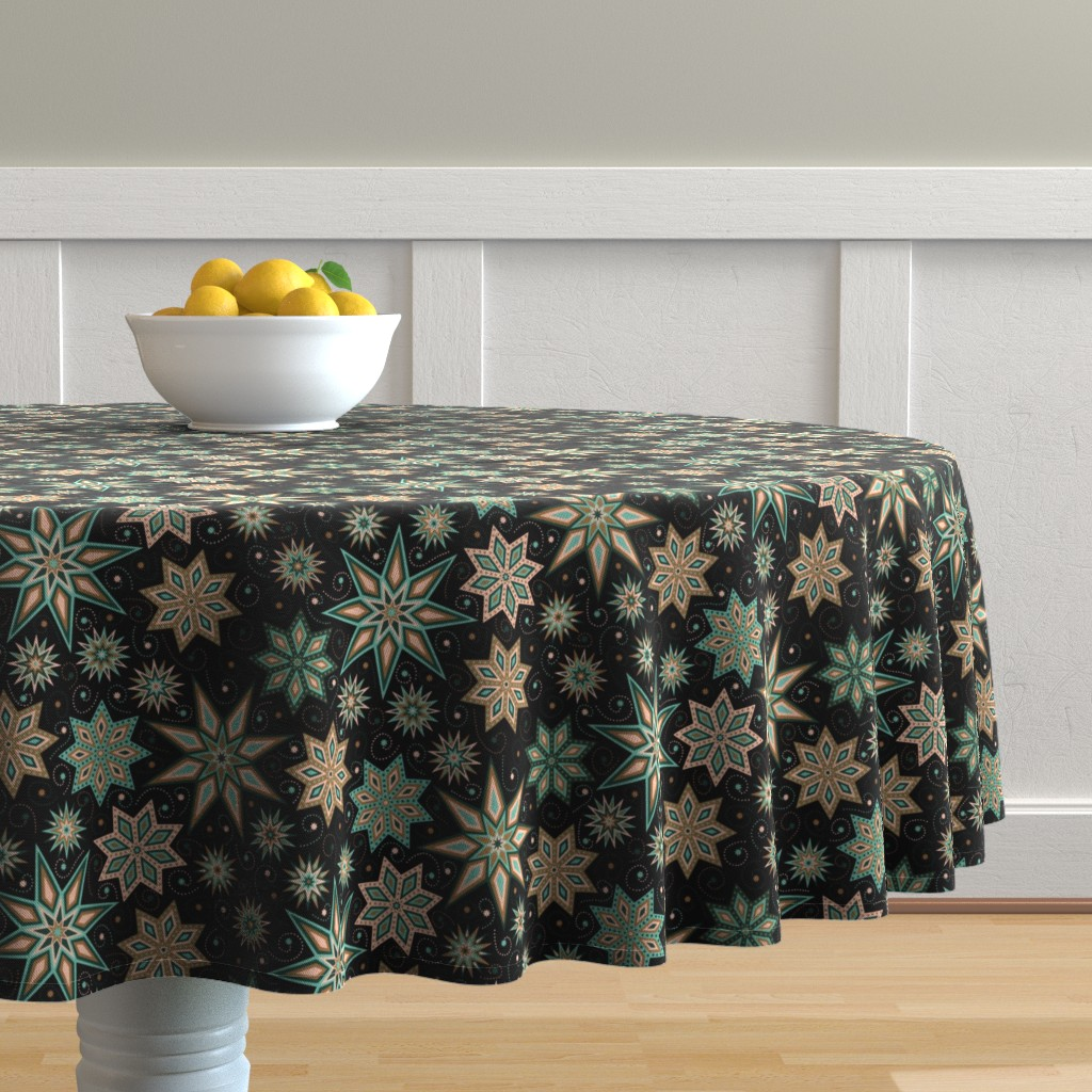 Malay Round Tablecloth featuring Stars Galore by willowbirdstudio