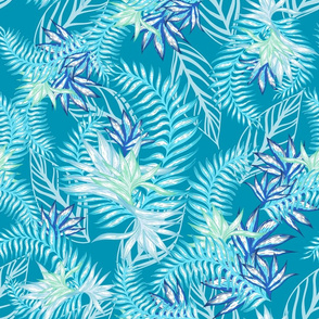 Tahitian Tropical Palms teal blue