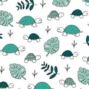 Pura Vida ocean and jungle animals little turtle tortoise baby mint green