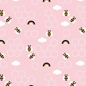 Honey comb and little bee safe the bees rainbow sky summer soft pink girls