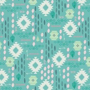 Tribal Aztec Incan Story Teal pink
