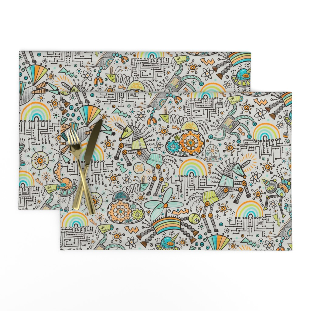 Lamona Cloth Placemats featuring Unicorn Science by helenpdesigns