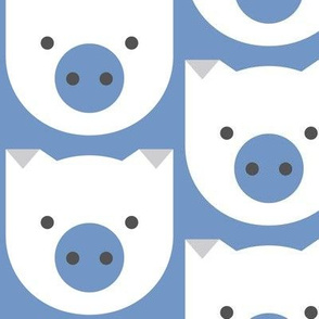 Pigs and Noses, Blue and Gray