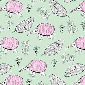 Little echidna wild animal forest and leaves New Zealand jungle summer mint pink girls
