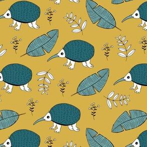 Little echidna wild animal forest and leaves New Zealand jungle summer fall ochre blue