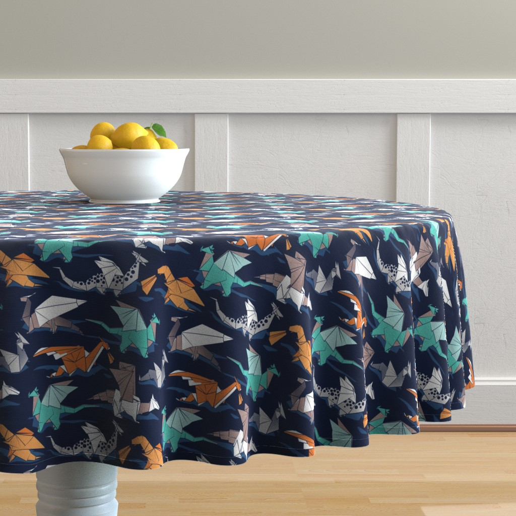Malay Round Tablecloth featuring Small scale // Origami dragon friends // oxford navy blue background aqua orange grey and taupe fantastic creatures by selmacardoso