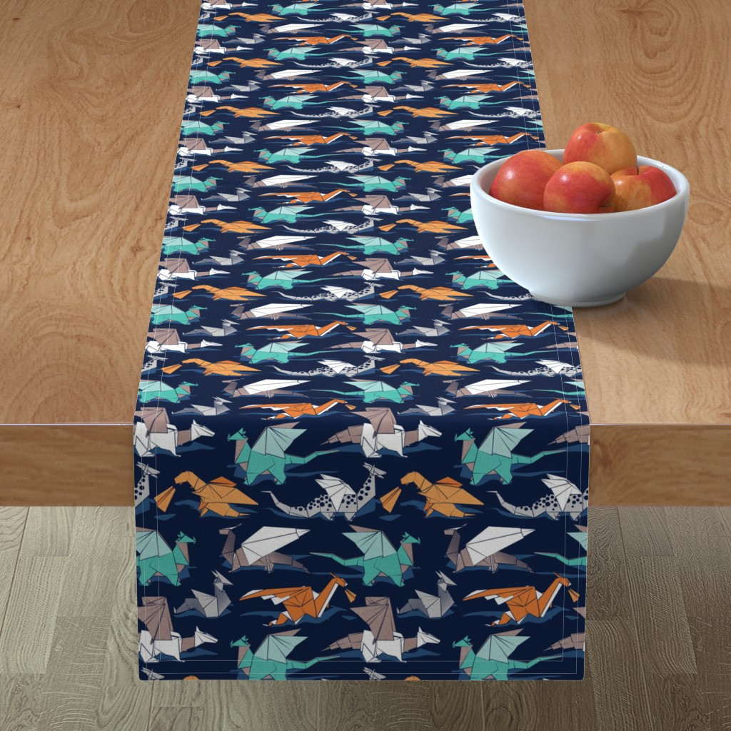 Minorca Table Runner featuring Origami dragon friends // small scale // oxford navy blue background aqua orange grey and taupe fantastic creatures by selmacardoso