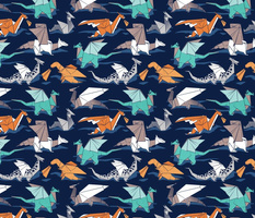 Small scale // Origami dragon friends // oxford navy blue background aqua orange grey and taupe fantastic creatures