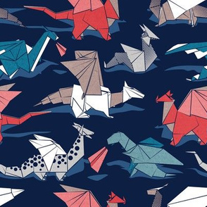 Small scale // Origami dragon friends // oxford navy blue background blue red grey and taupe fantastic creatures