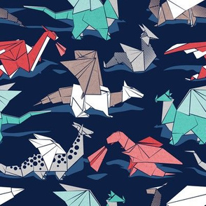 Small scale // Origami dragon friends // oxford navy blue background aqua red grey and taupe fantastic creatures