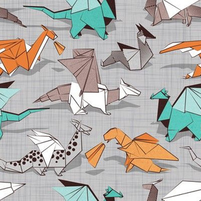 Small scale // Origami dragon friends // grey linen texture background aqua orange grey and taupe fantastic creatures