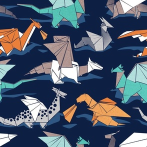 Normal scale // Origami dragon friends // oxford navy blue background aqua orange grey and taupe fantastic creatures
