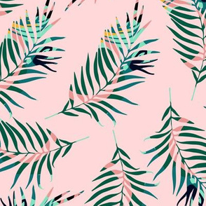 Tropical branches. Pink pattern