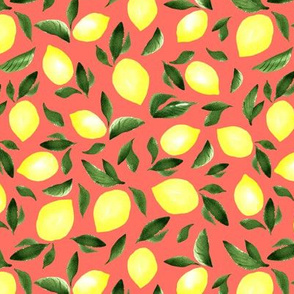 Watercolor lemons. Red pattern