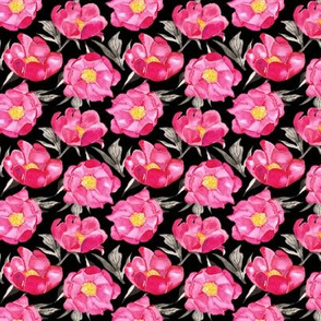 19-09g Hot Pink Peony Floral Black Yellow Gray Watercolor Small