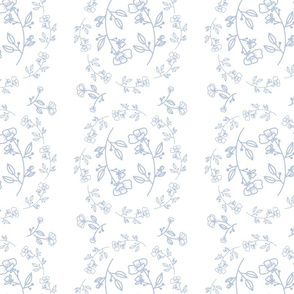 Floralie - Powder Blue on White