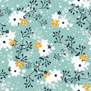 Minty Yellow Floral Garden