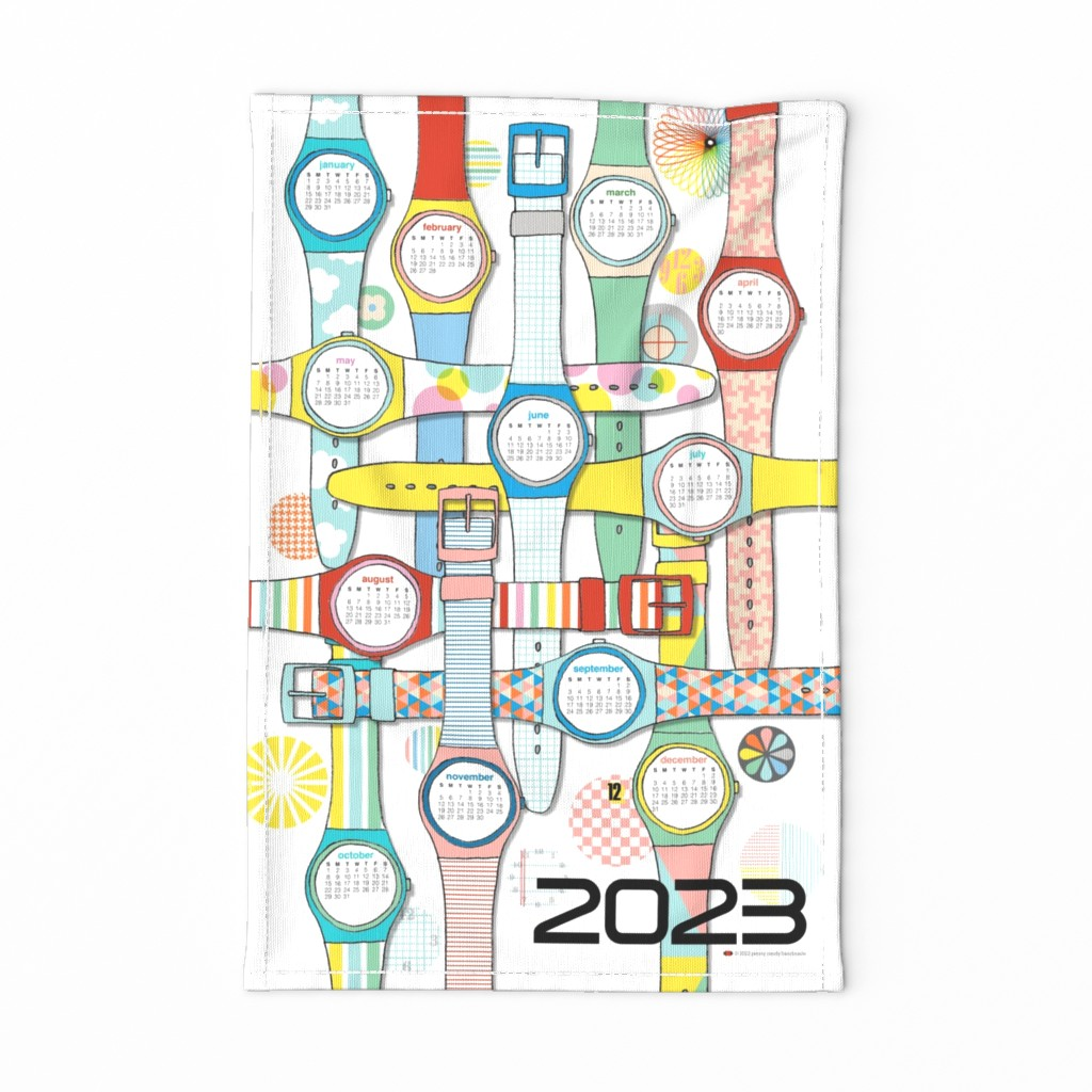 Special Edition Spoonflower Tea Towel featuring 2020 Time Warp Tea Towel Calendar* || cut and sew kitchen diy wrist watch Swiss fashion 80s clouds stripes polka dots retro flower houndstooth triangles by pennycandy