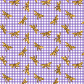 Gingham Dragonfly M Gold Purple