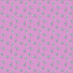 Gingham Dragonfly S Magenta Mint