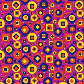 Square Circles L Orange Yellow
