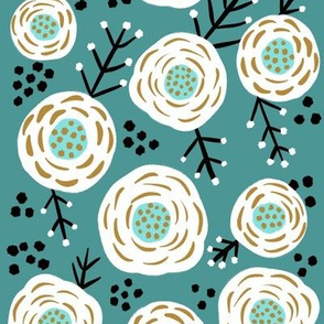 White flowers with dots and sprigs