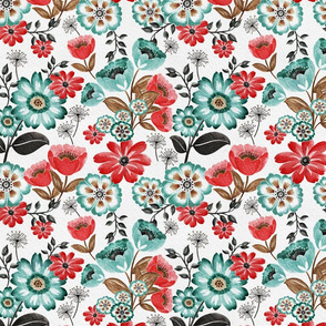 Vintage Tulips and Daisies -Peach and Teal