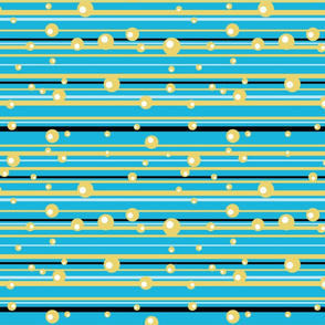 Blue, Black and Yellow horizontal stripes with Bubbles - Sweet Tweets 13