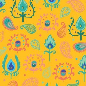 Yellow Ikat Doodles