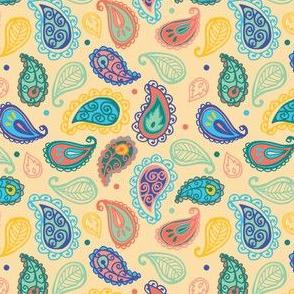 Cream Multi Paisley Doodles